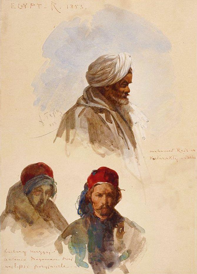 Францішек Томаш Тепа. Типи зі східного альбому, 1852; папір, акварель; NMW