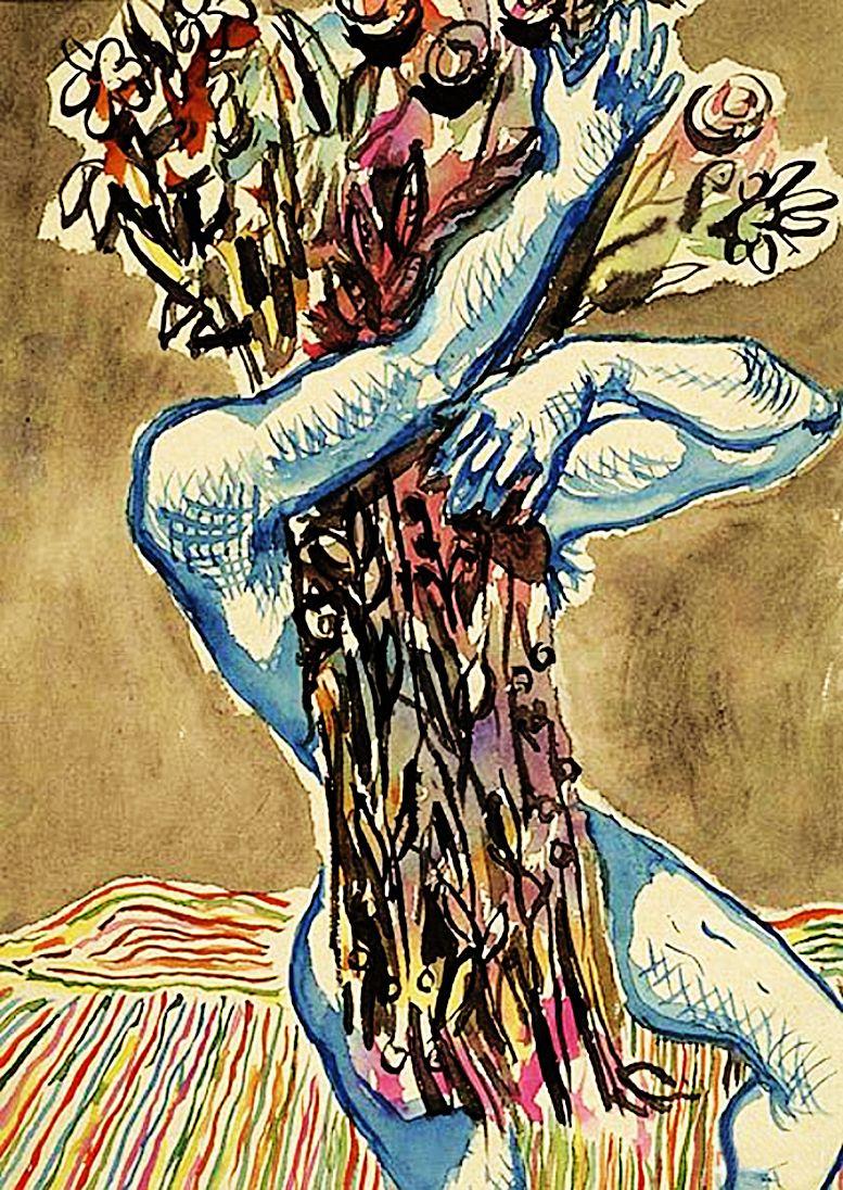 Єжи Яніш. Чоловік з квітами, 1930-ті; папір, акварель