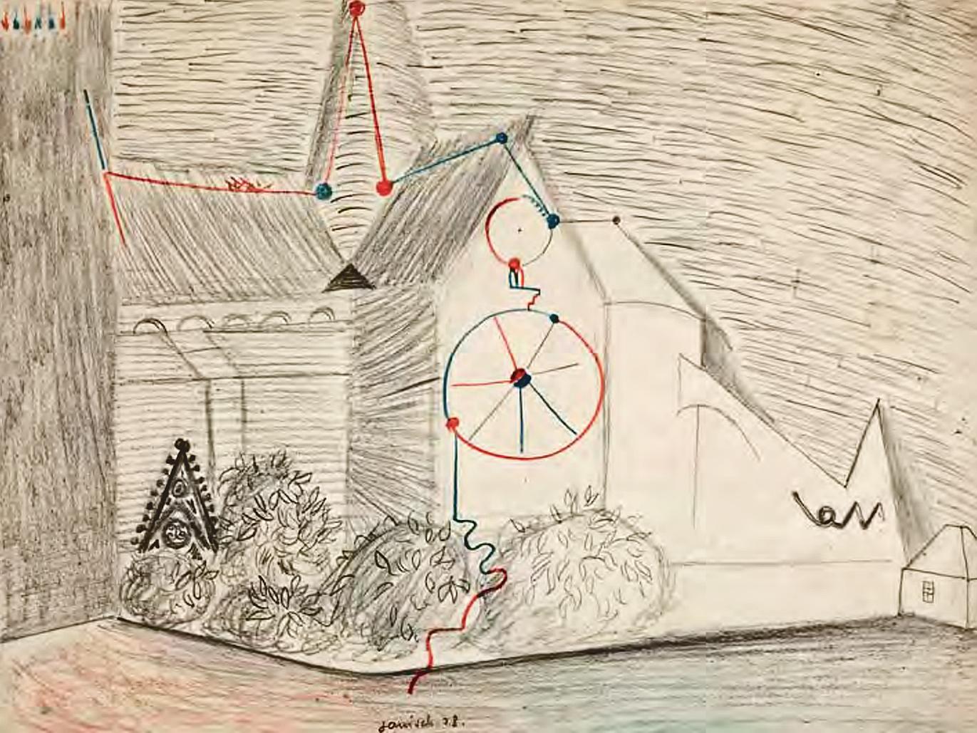 Єжи Яніш. Клюні, 1929; папір, олівець, крейда; NMWr