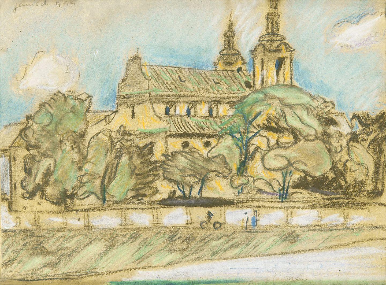 Єжи Яніш. Краків костел Na Skałce 1944; папір, пастель