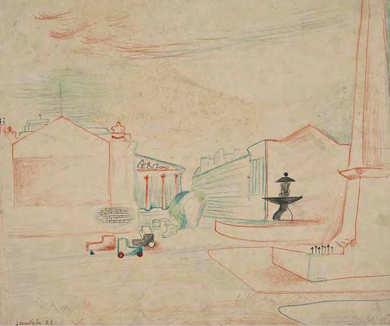 Єжи Яніш. Париж пл Конкорд, 1928; папір, крейда; NMWr