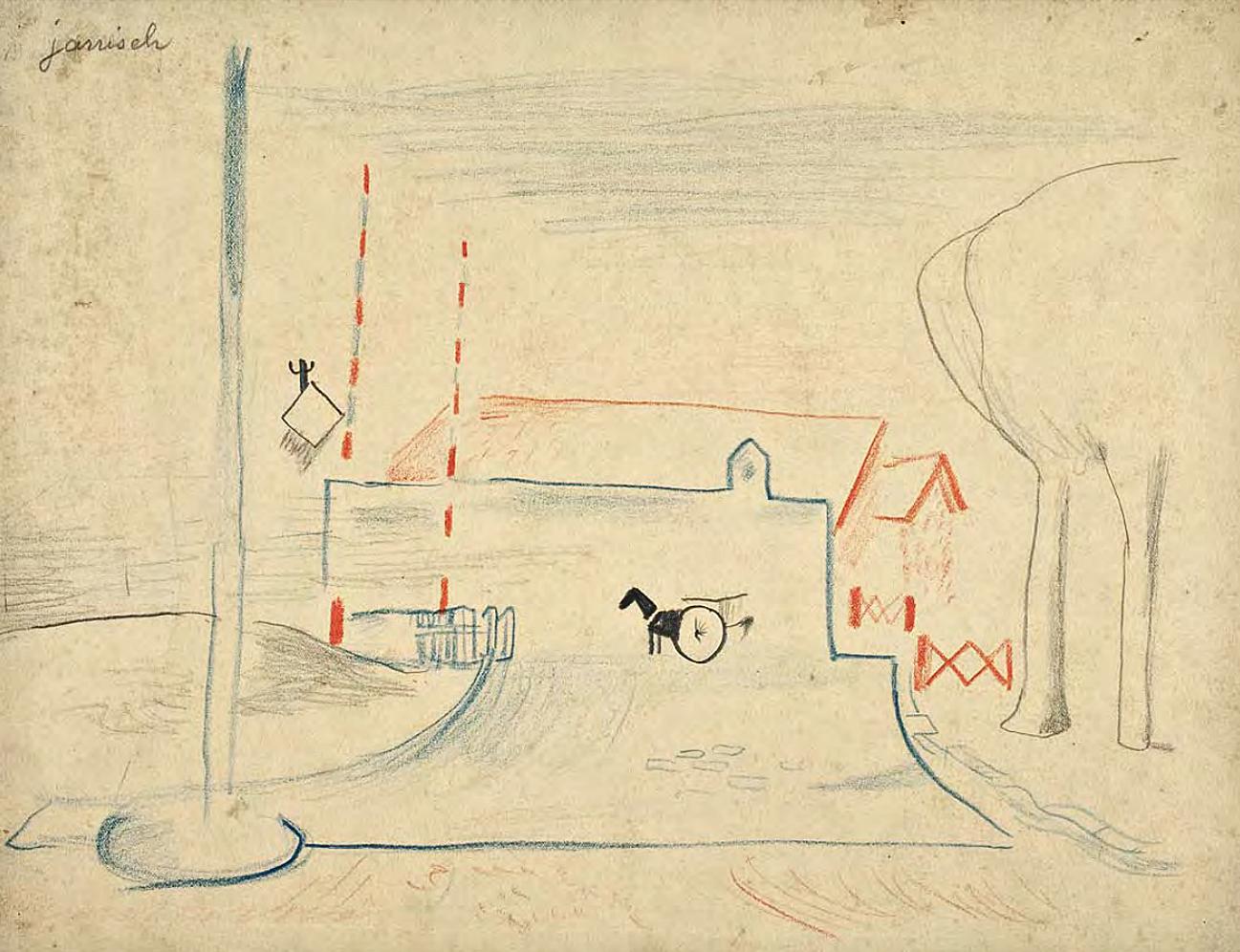 Єжи Яніш. Париж залізнодорожний переїзд, 1925; папір, олівець, крейда; NMWr