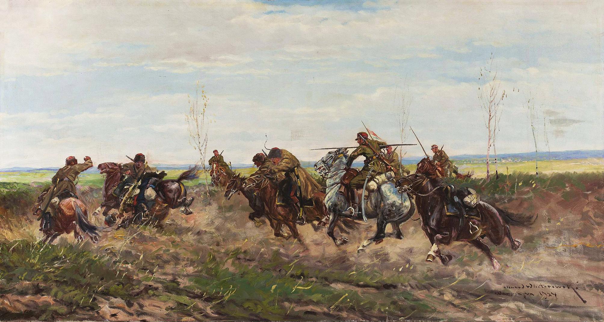 Леонард Вінтеровський. Батальна сцена, 1924; олія, полотно, NMW