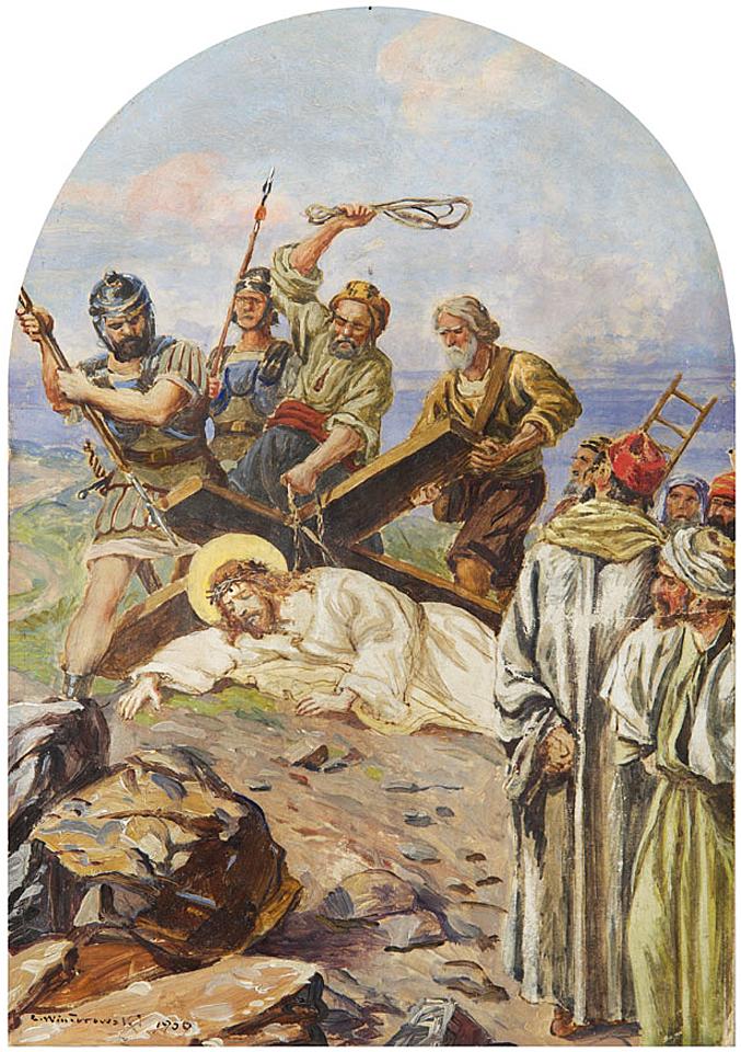 Леонард Вінтеровський. Христос під хрестом, 1900; олія, картон