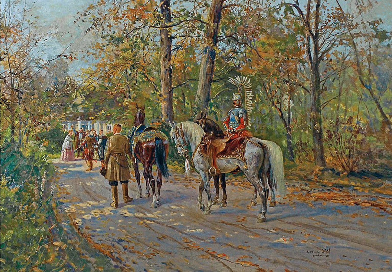 Леонард Вінтеровський. Перед садибою. Львів, 1911; олія, картон
