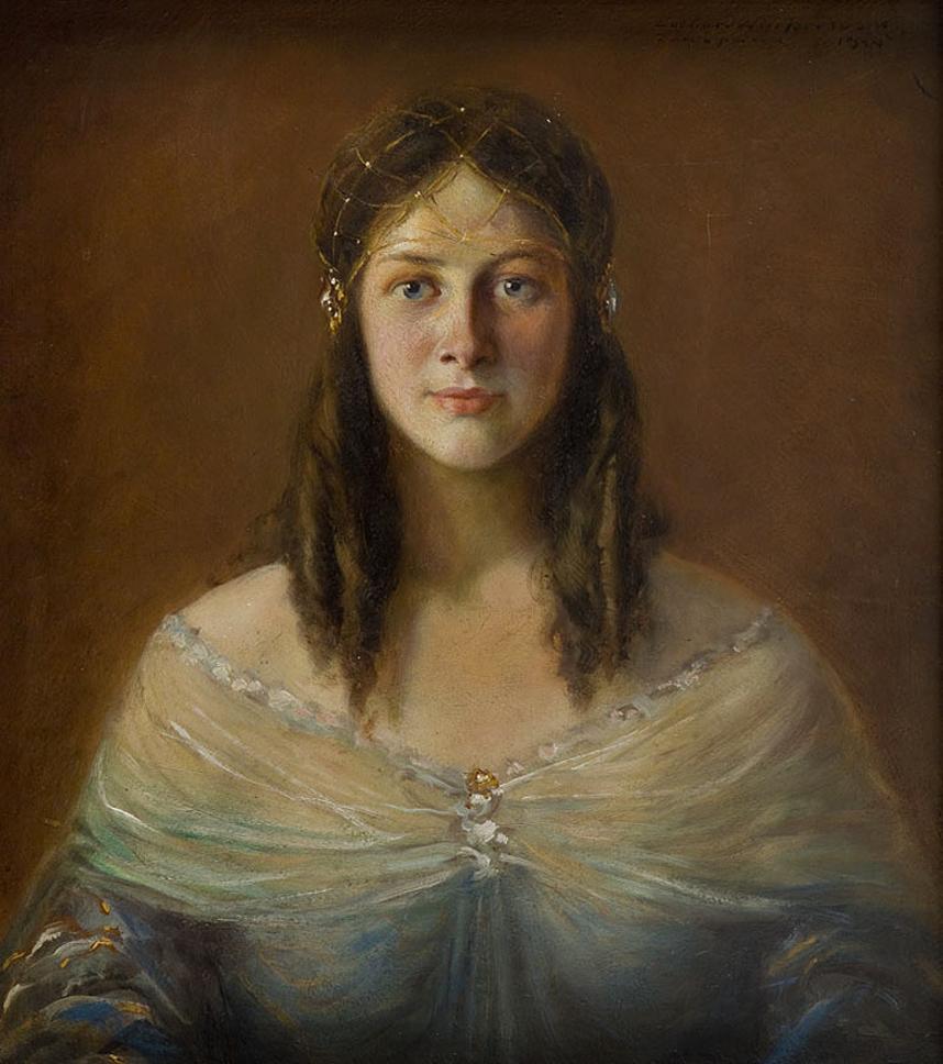 Леонард Вінтеровський. Співачка Марія Мокшицька, 1924; олія, картон