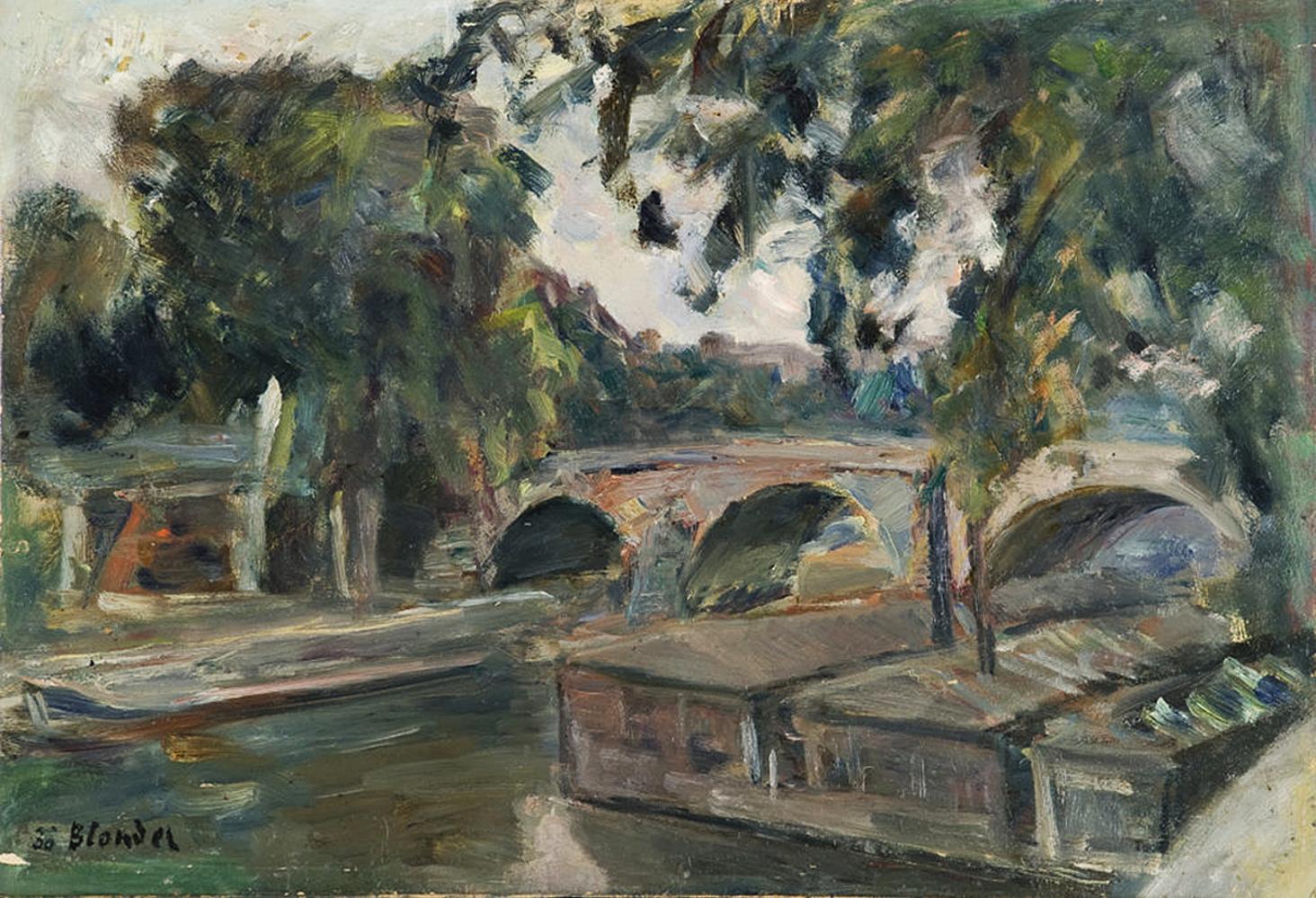 Саша Блондер. Баржі біля мосту 1938; картон, олія