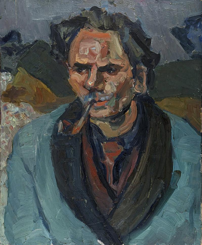 Саша Блондер. Чоловік з люлькою, 1938; картон, олія
