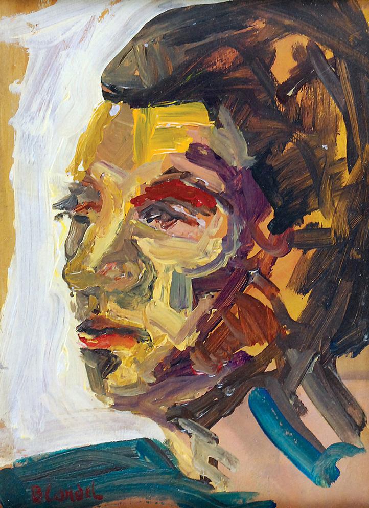 Саша Блондер. Голова чоловіка; картон, олія