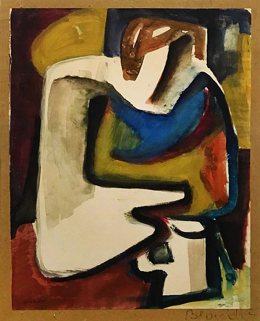 Саша Блондер. Композиція з фігурою, 1934; папір, акварель, гуаш