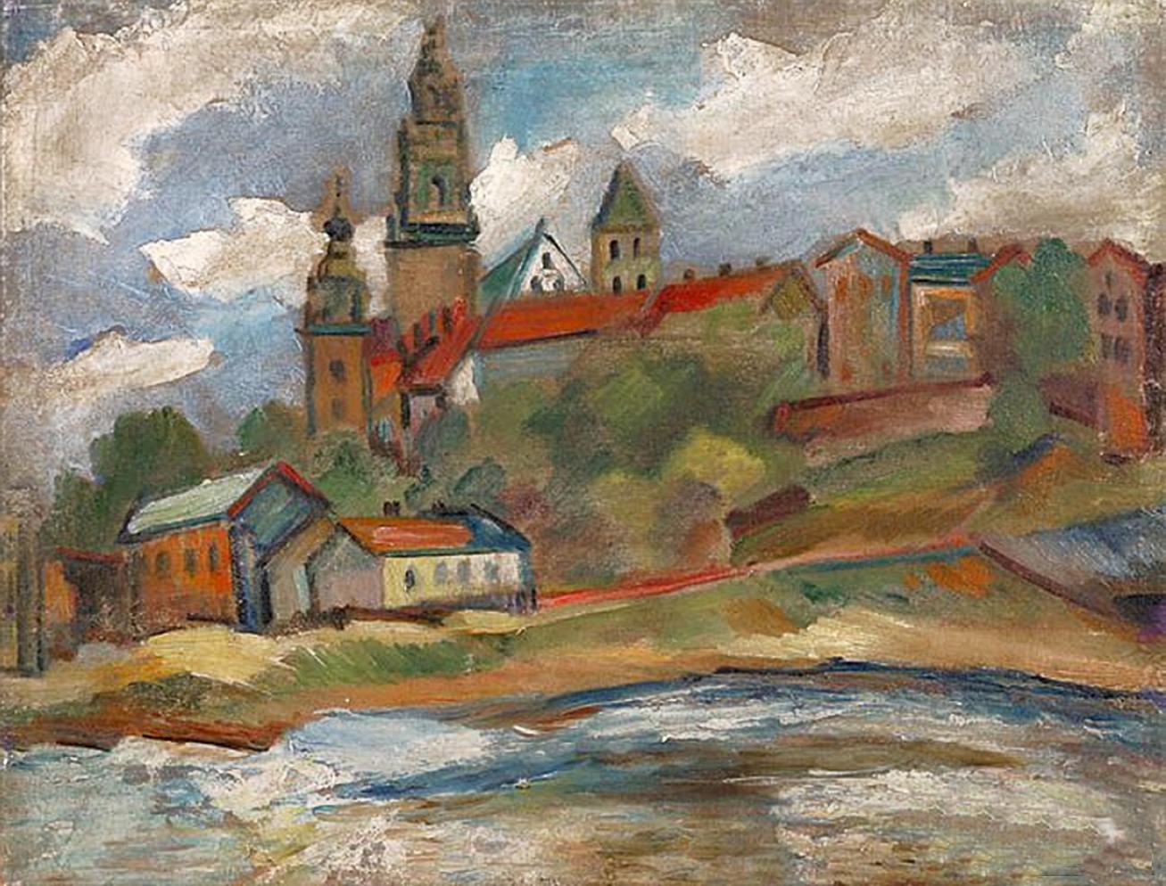 Саша Блондер. Місто біля річки, 1930-ті; полотно, олія