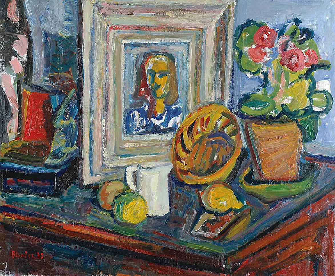 Саша Блондер. Натюрморт з портретом, 1945; полотно, олія