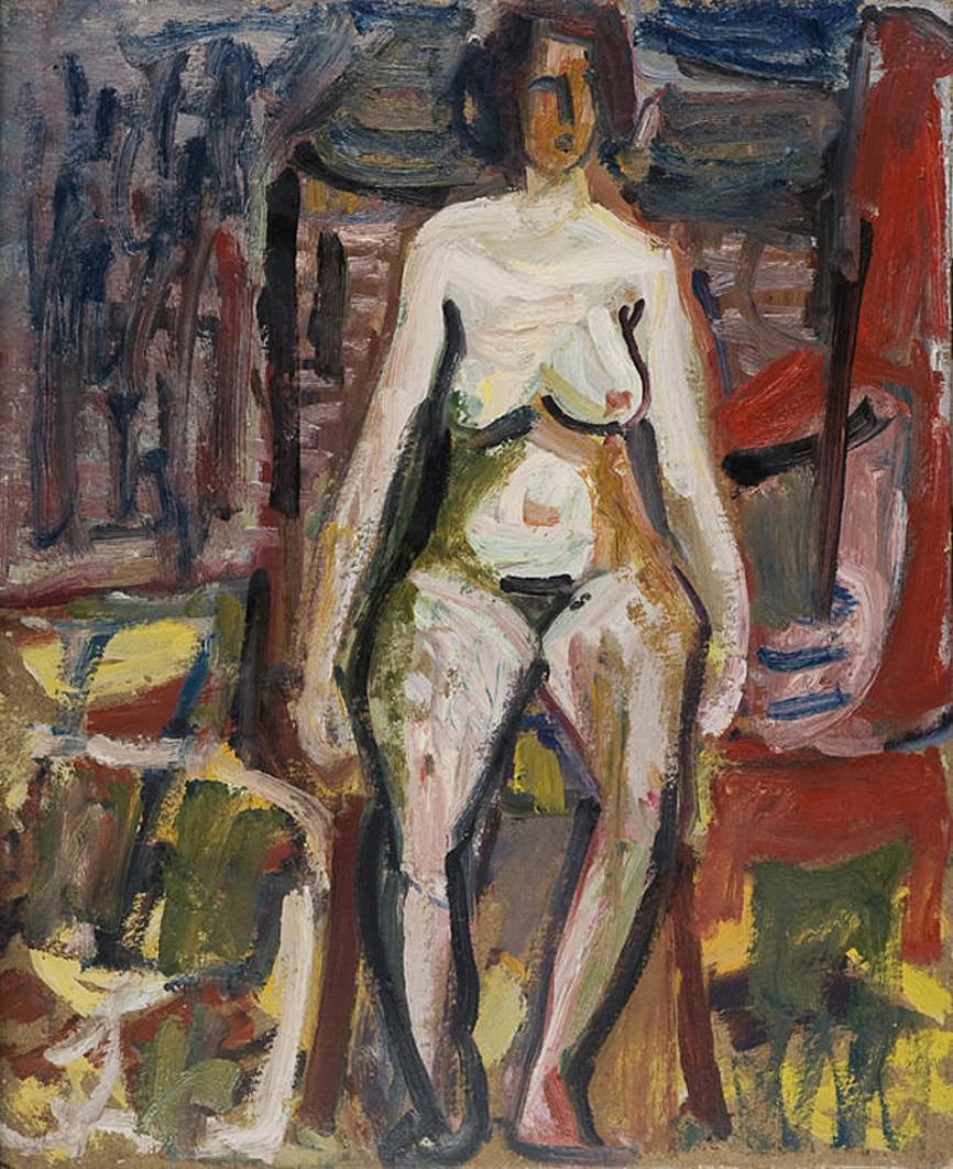 Саша Блондер. Ню, 1946; картон, олія