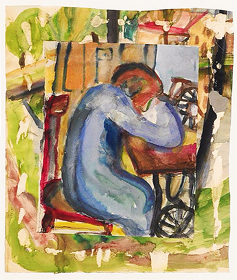 Саша Блондер. Швачка Сабіна, 1935; папір, акварель, гуаш