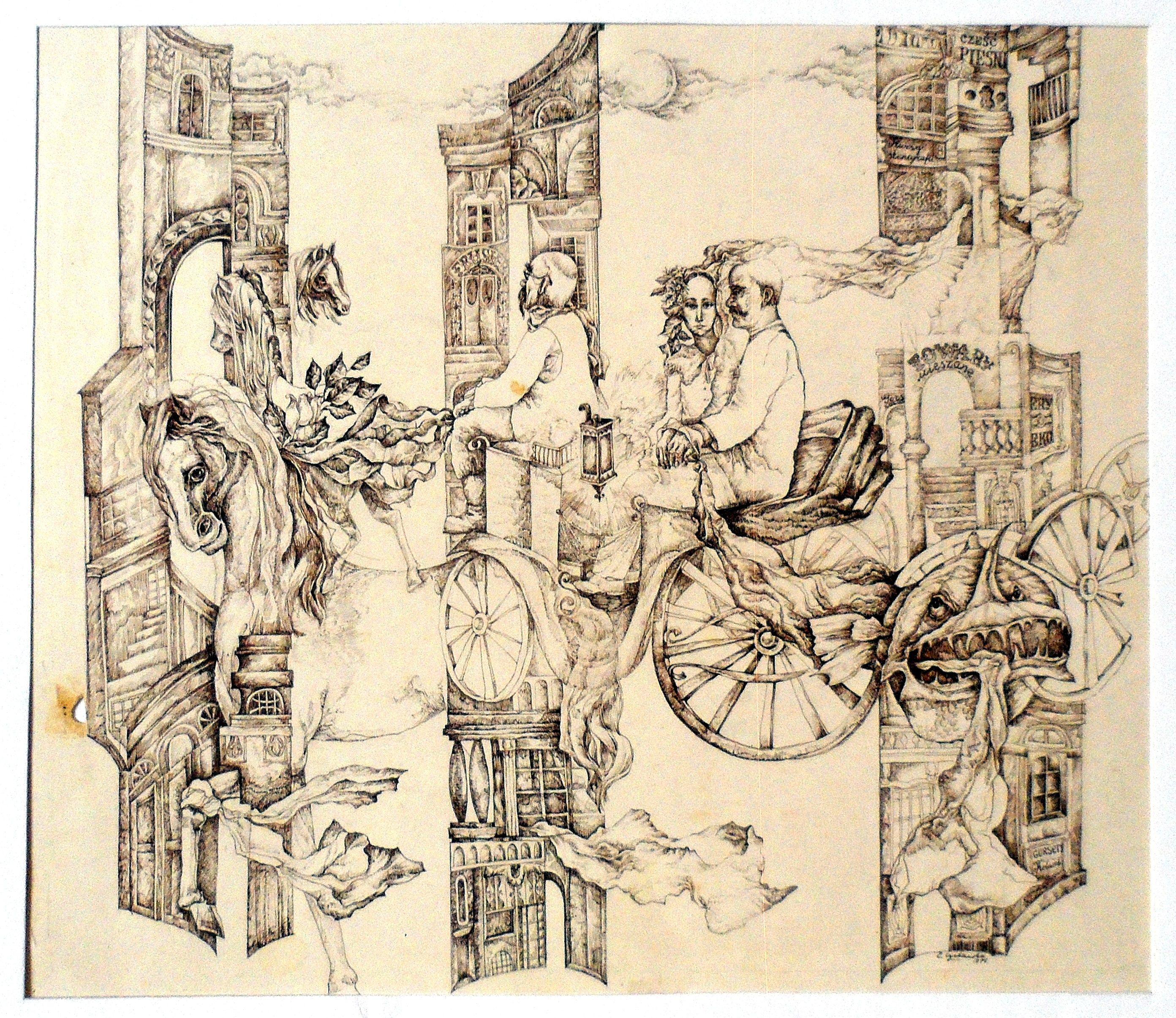 Катерина Суєвалова. Ілюстрація до поезії К. Галчинського, 1975; туш
