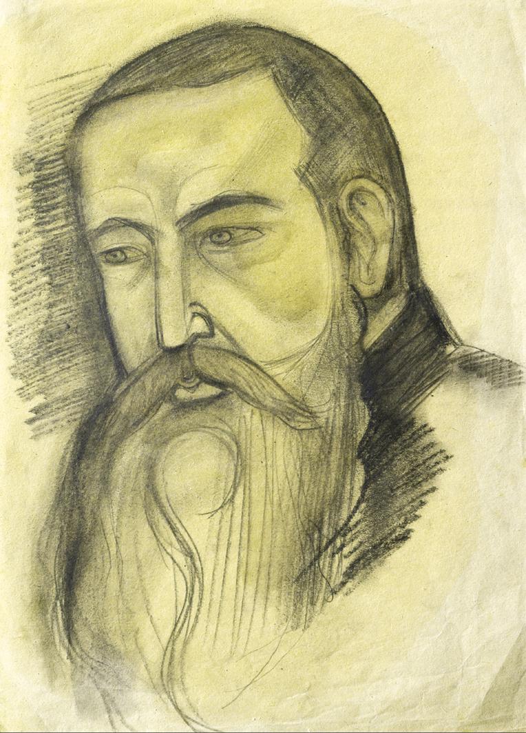 Михайло Бойчук. Андрей Шептицький, 1912; папір, олівець; ЛНГМ