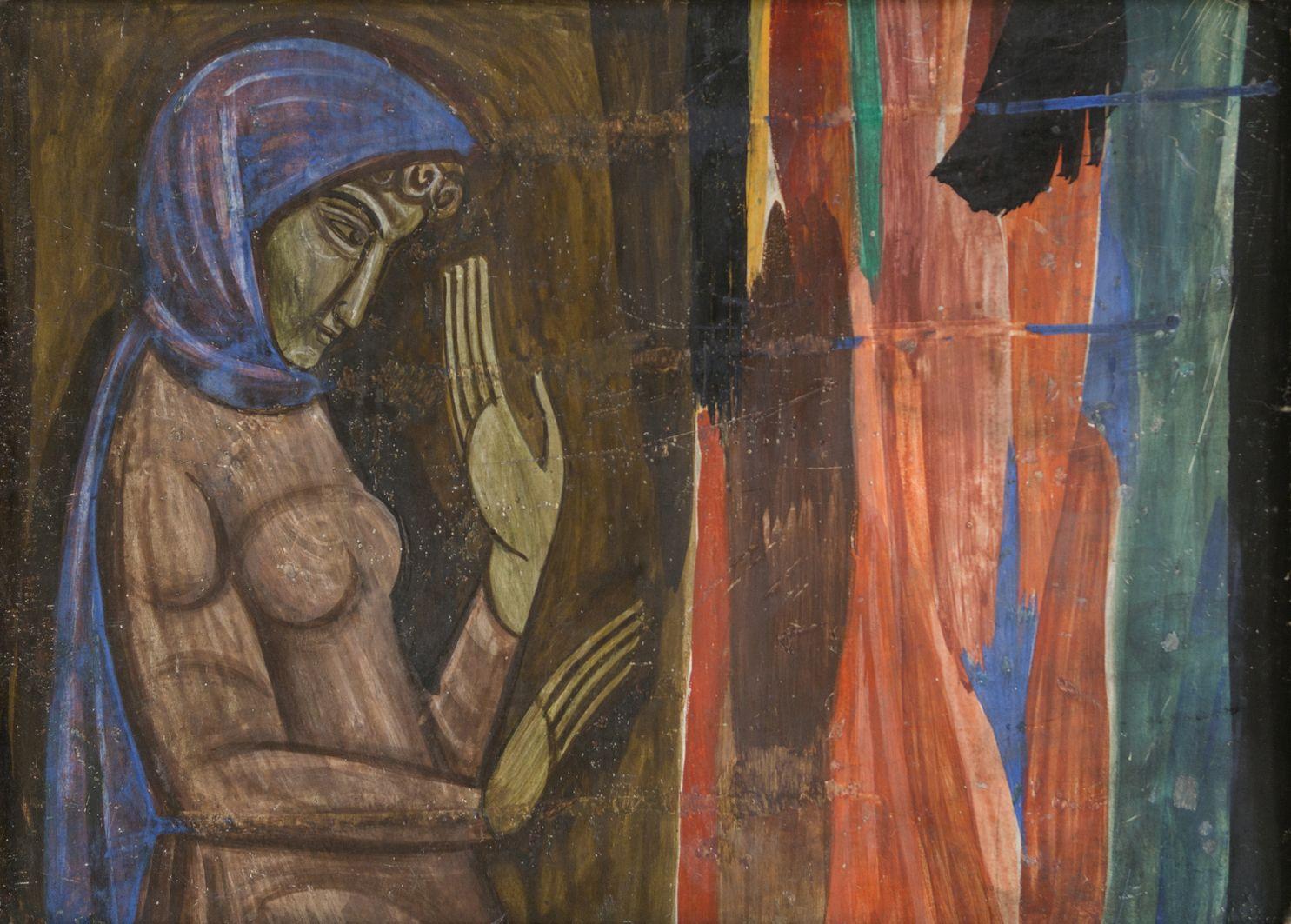 Михайло Бойчук. Дівчина перед деревом, 1910-і; картон, темпера, акварель; ЛНГМ