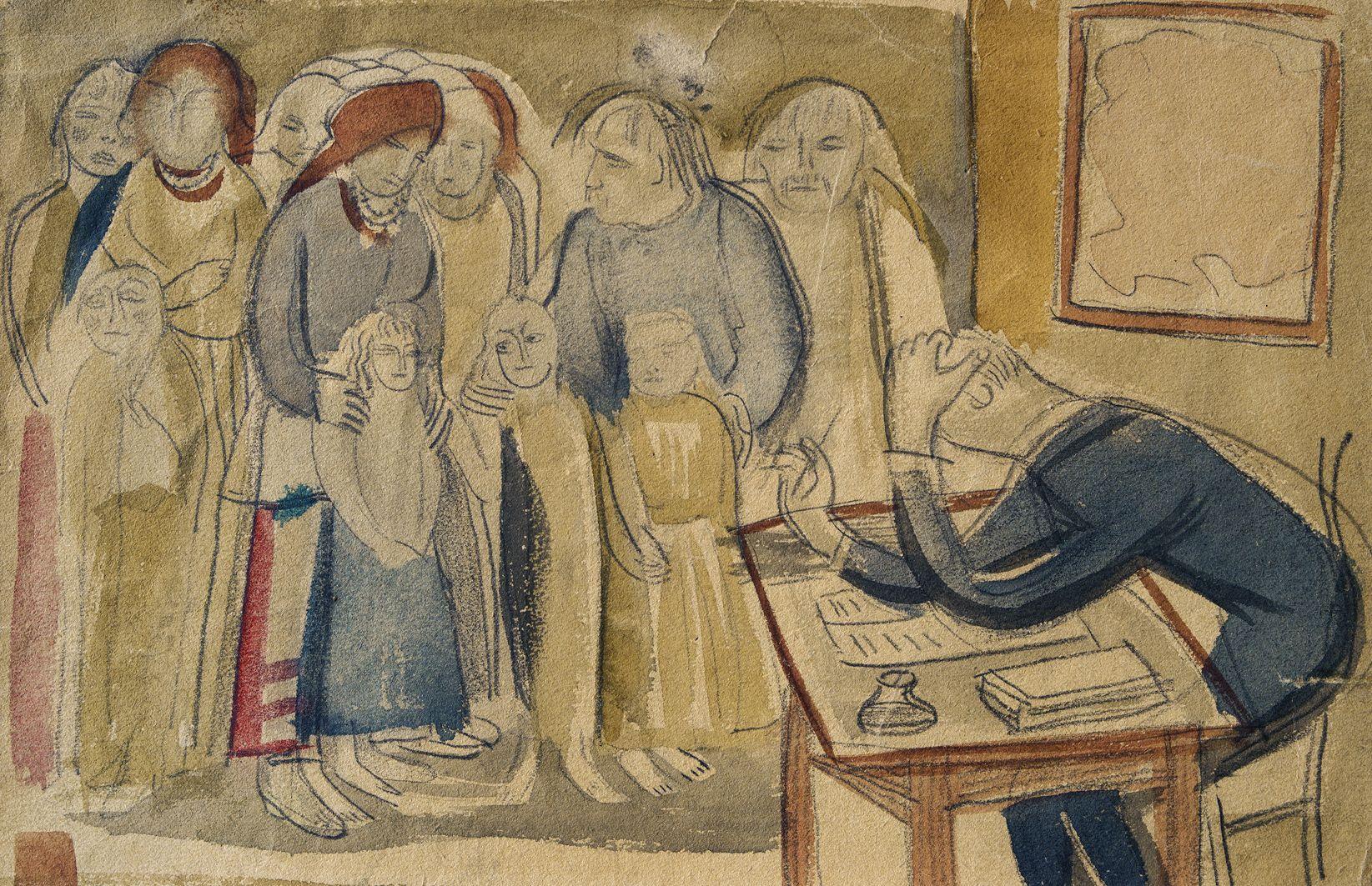 Михайло Бойчук. Школа, 1910-і; папір, акварель; ЛНГМ