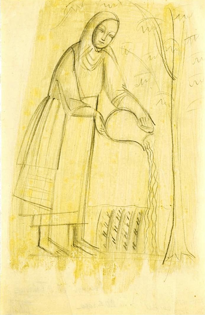 Михайло Бойчук. Жінка що поливає дерево, 1920-і; папір, олівець; НХМУ