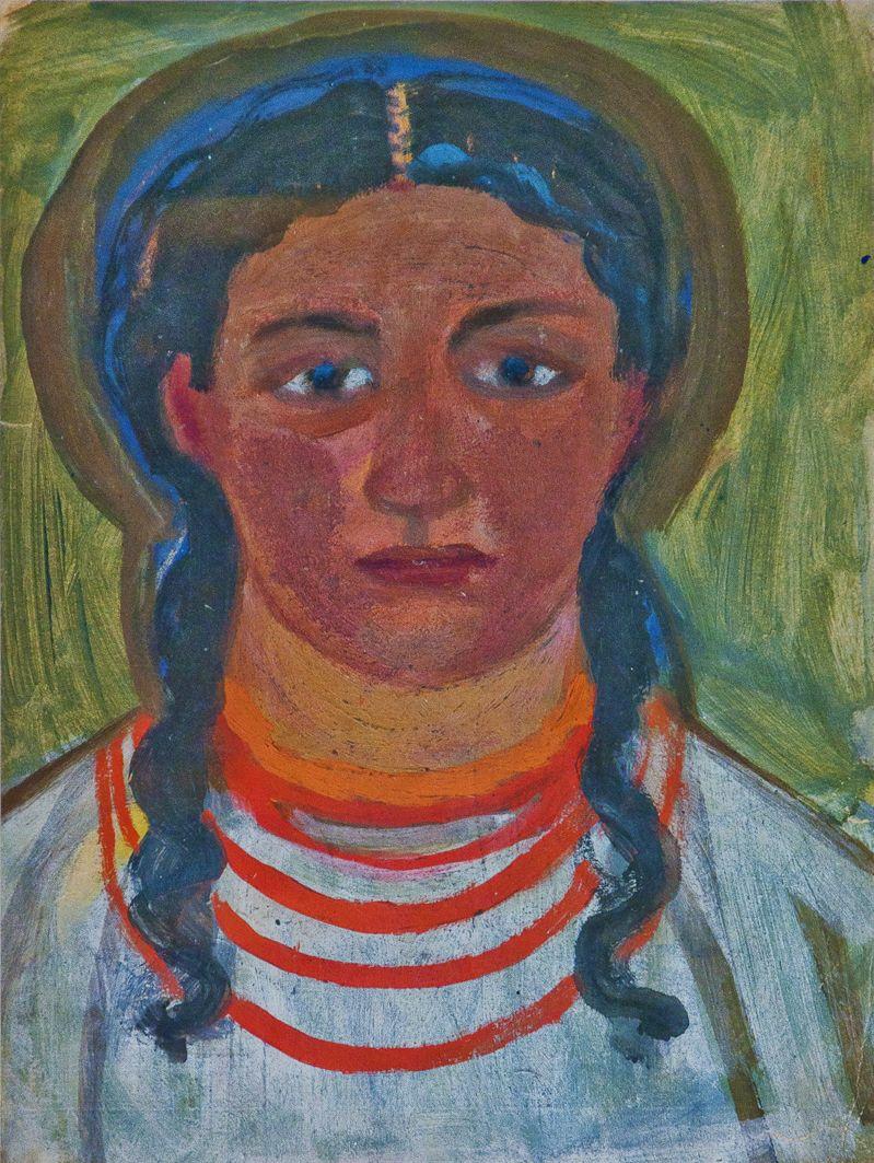 Михайло Бойчук. Жіночий портрет; папір, акварель; ЛНГМ