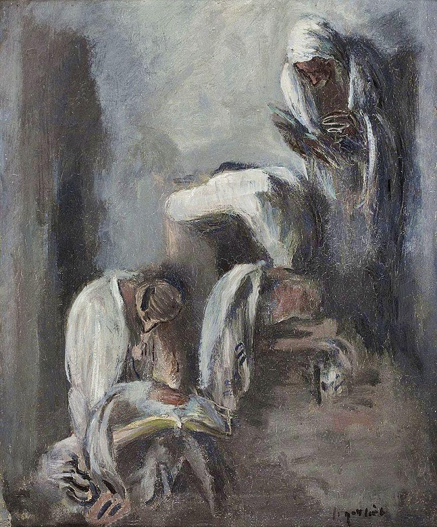Леопольд Ґоттліб. Євреї моляться, 1933; картон, олія