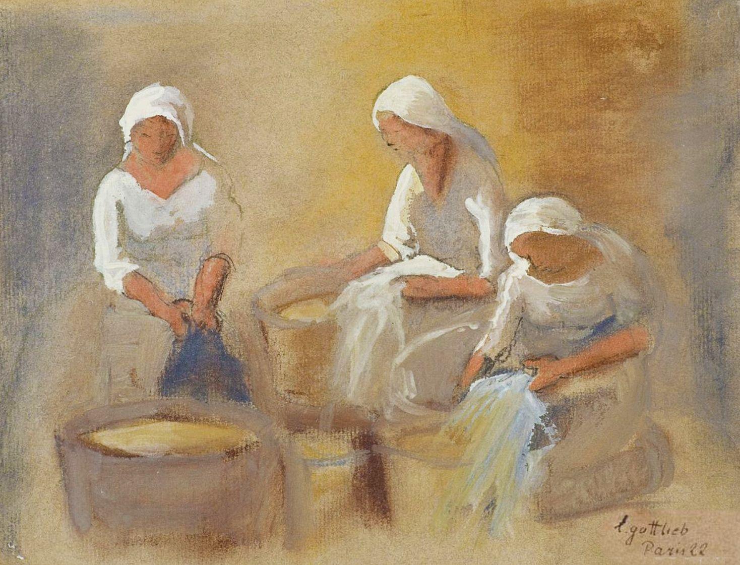 Леопольд Ґоттліб. Прачки, 1922; папір, пастель, гуаш