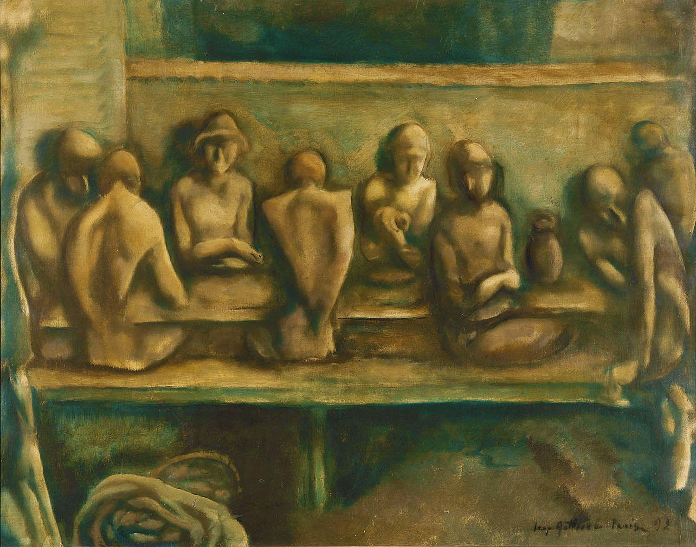 Леопольд Ґоттліб. Вечеря рибалок, 1926; олія, полотно