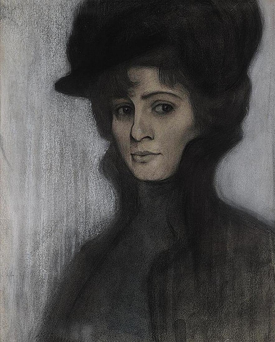 Леопольд Ґоттліб. Жіночий портрет, 1903; папір, пастель