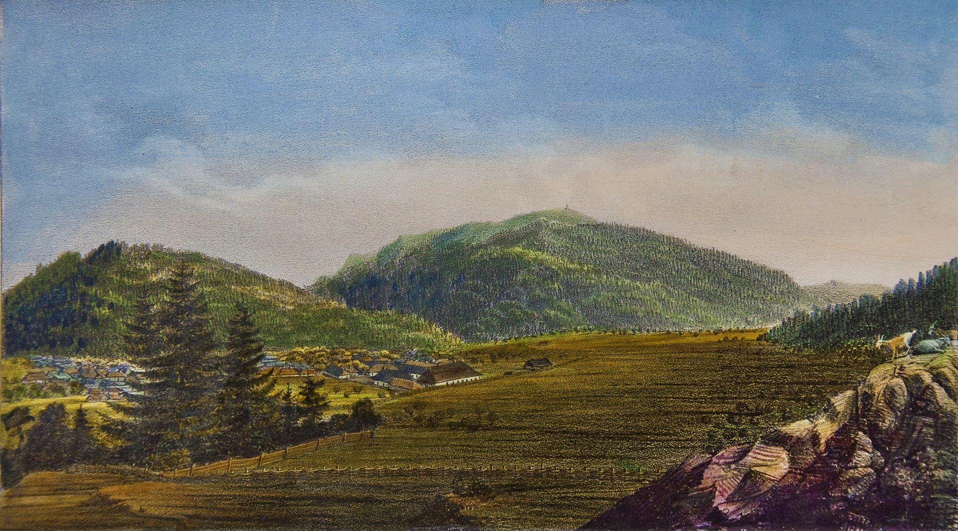 Мацей Боґуш Зиґмунт Стенчинський. Гора Зелемін над Сколем, 1847; літографія