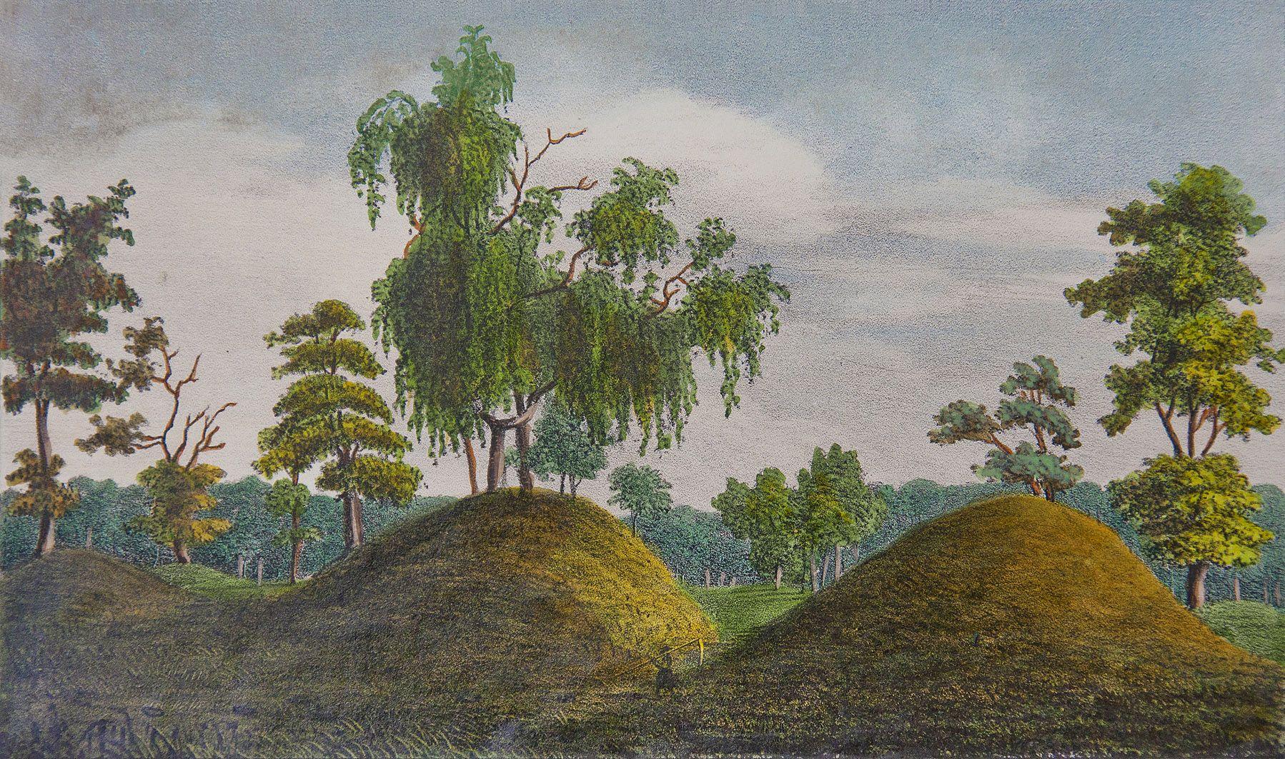 Мацей Боґуш Зиґмунт Стенчинський. Кургани на Пліснеську, 1847; літографія