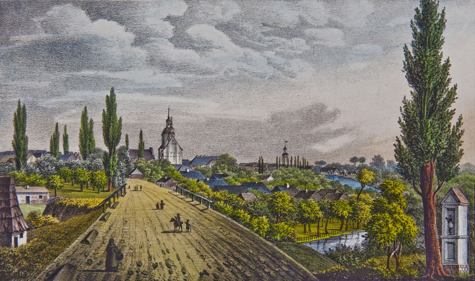 Мацей Боґуш Зиґмунт Стенчинський. Самбір від півдня, 1846; літографія