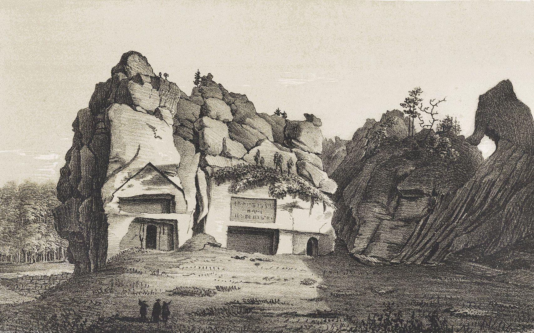 Мацей Боґуш Зиґмунт Стенчинський. Скелі Довбуша в Бубнище, 1847; літографія