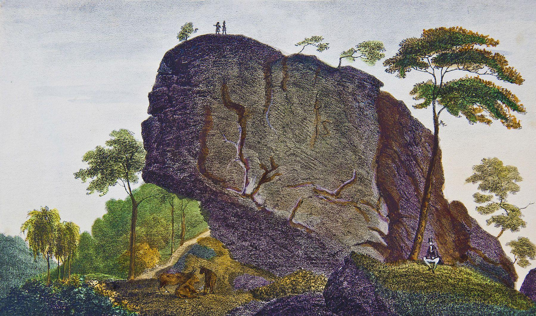 Мацей Боґуш Зиґмунт Стенчинський. Скеля у Журові, 1847; літографія