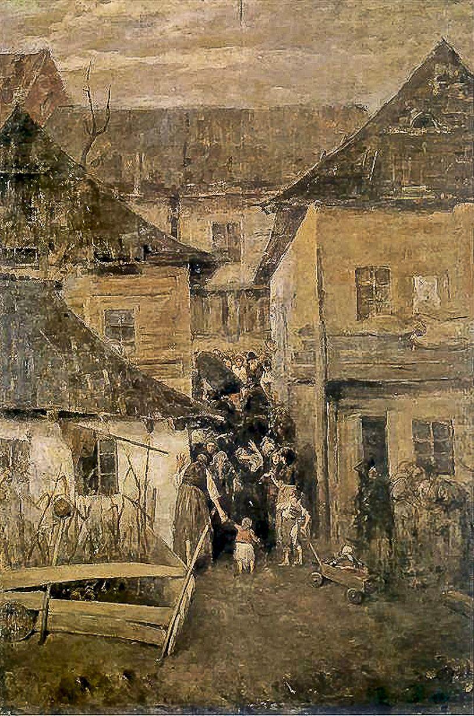 Станіслав-МечиславДембіцький. Єврейський похорон в містечку, 1887; олія, полотно; ЛНГМ