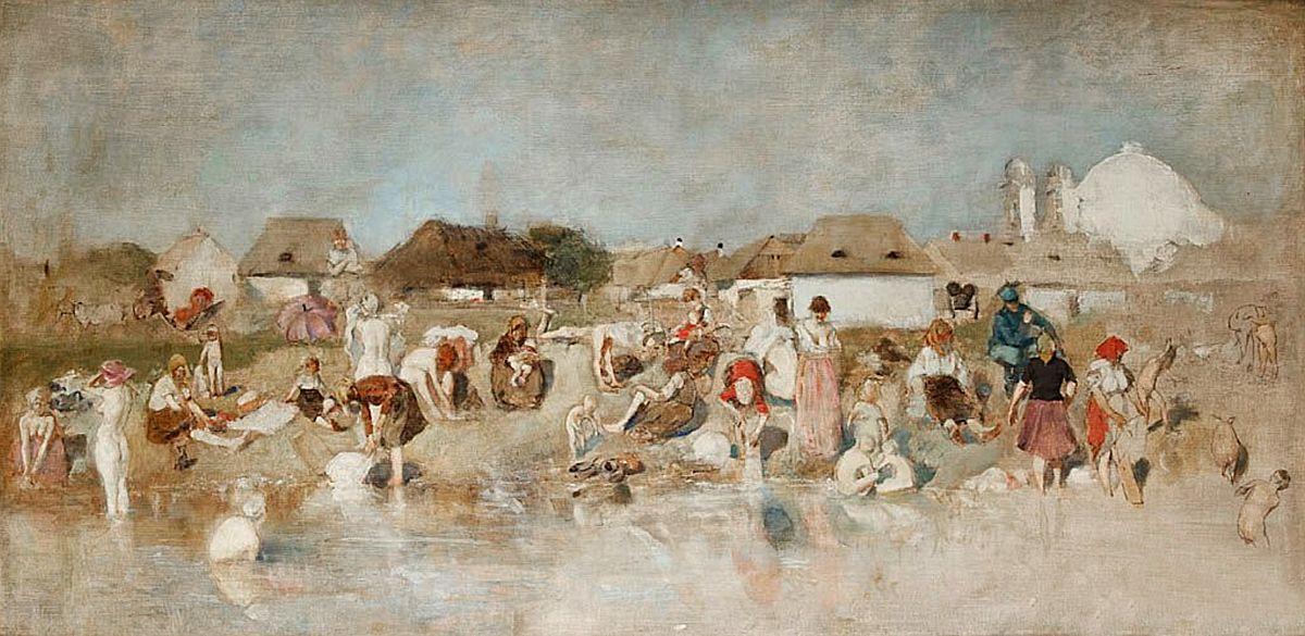 Станіслав-МечиславДембіцький. Купання в Пруті, Коломия, 1887; олія, полотно