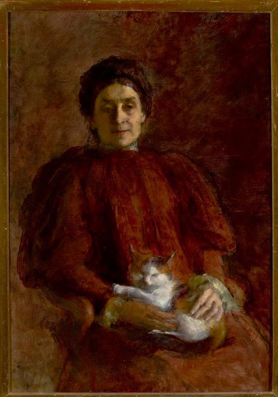 Анєля Пайонкувна. Портрет жінки з котом, 1898; олія, полотно, Музей народовий у Варшаві