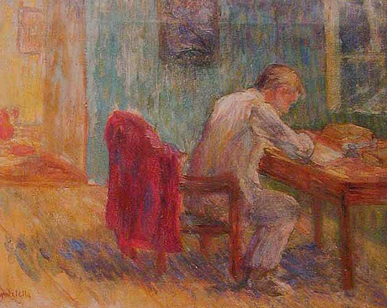 Марія Водзіцька. За читанням, 1936; олія, полотно
