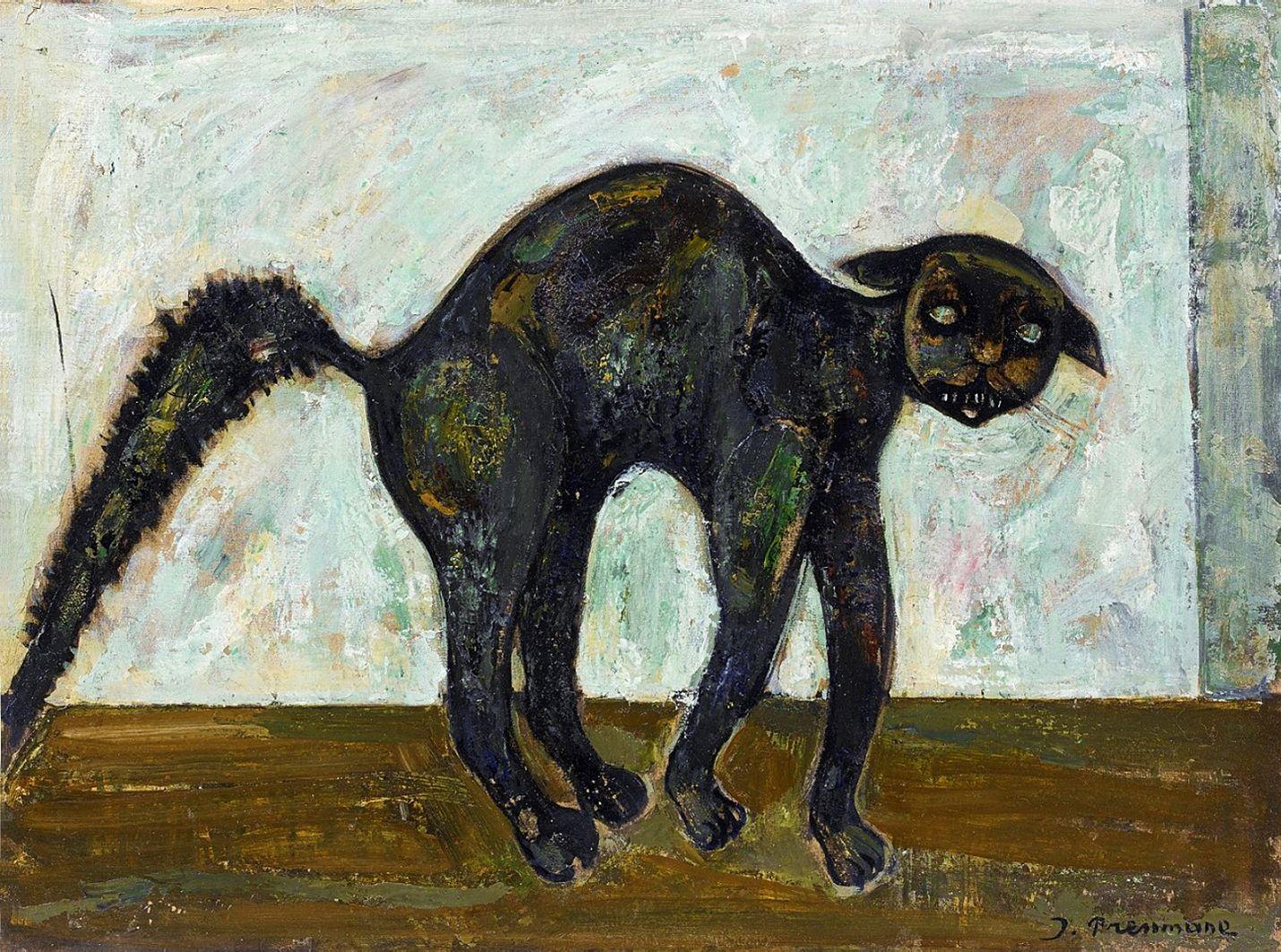 Жозеф Прессман. Чорна кішка; олія, полотно