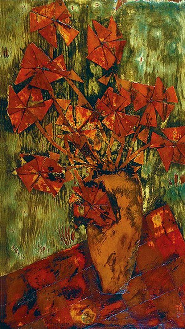 Жозеф Прессман. Квіти у вазі, 1959; колаж