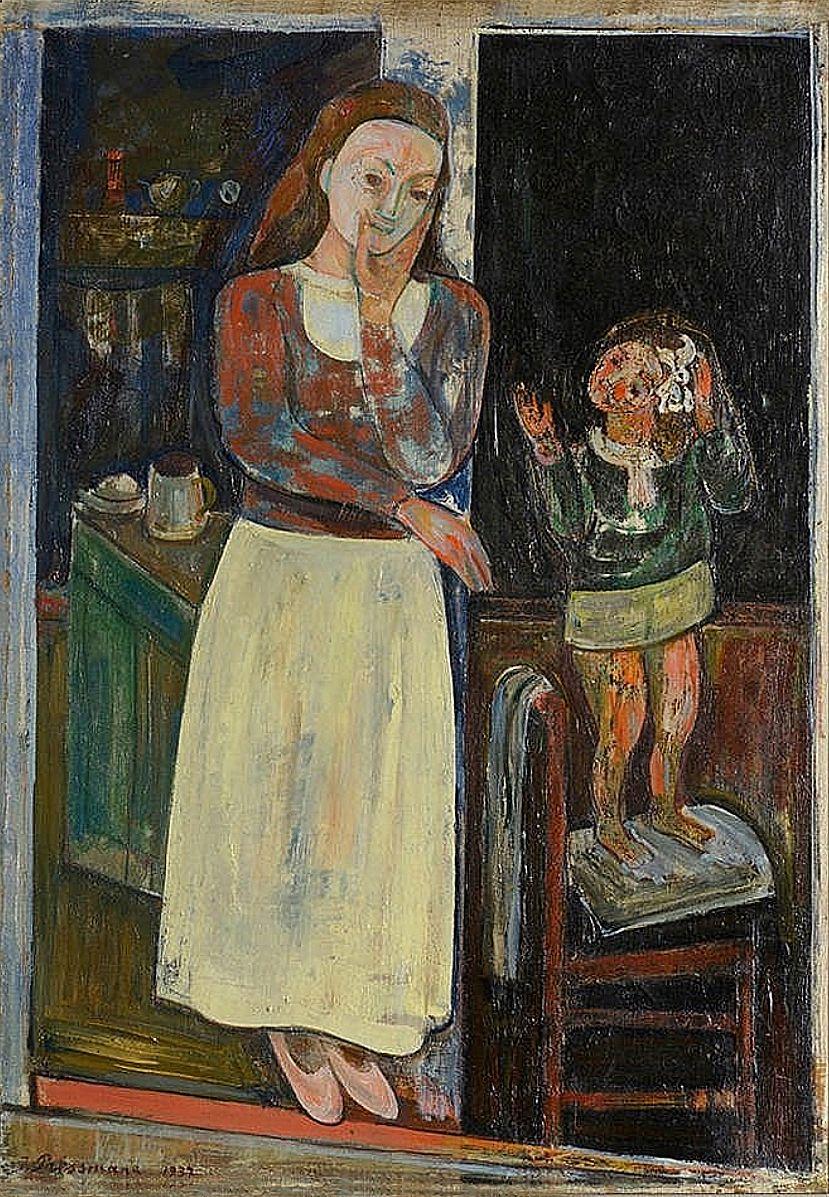 Жозеф Прессман. Мати з дитиною в інтер'єрі, 1937; олія, полотно