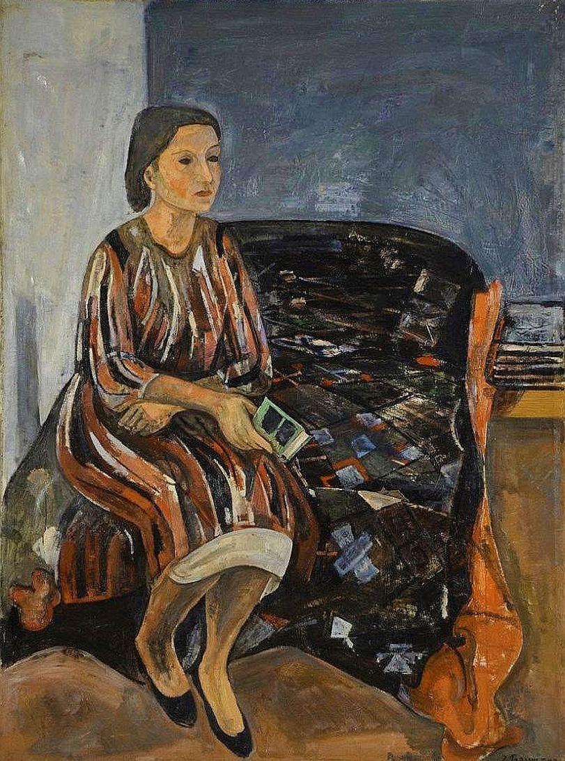 Жозеф Прессман. Жінка з книжкою в кріслі; олія, полотно