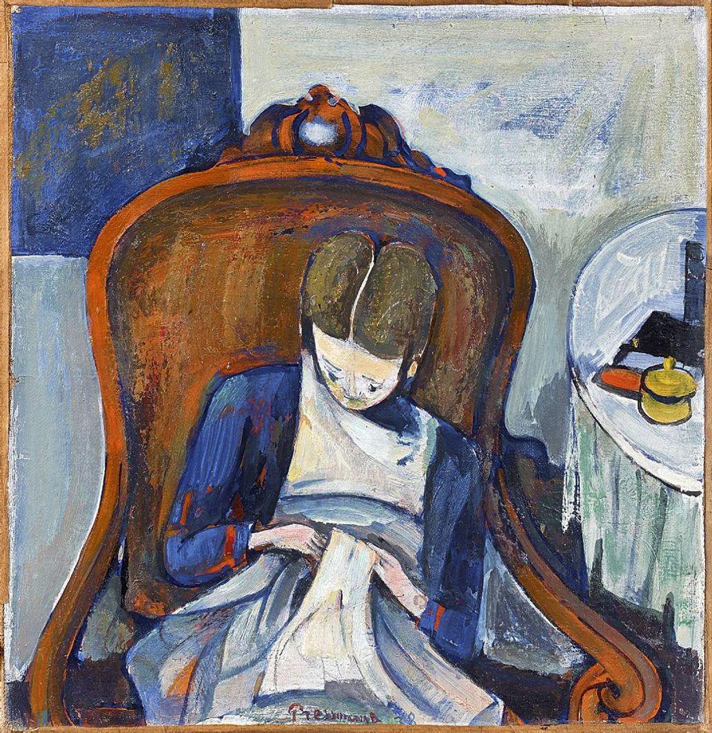 Жозеф Прессман. Жінка за шиттям, 1938; олія, полотно
