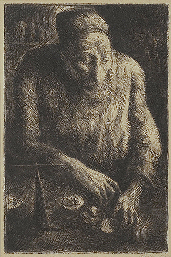 Отто Аксер. Єврей рахує гроші, 1930, офорт