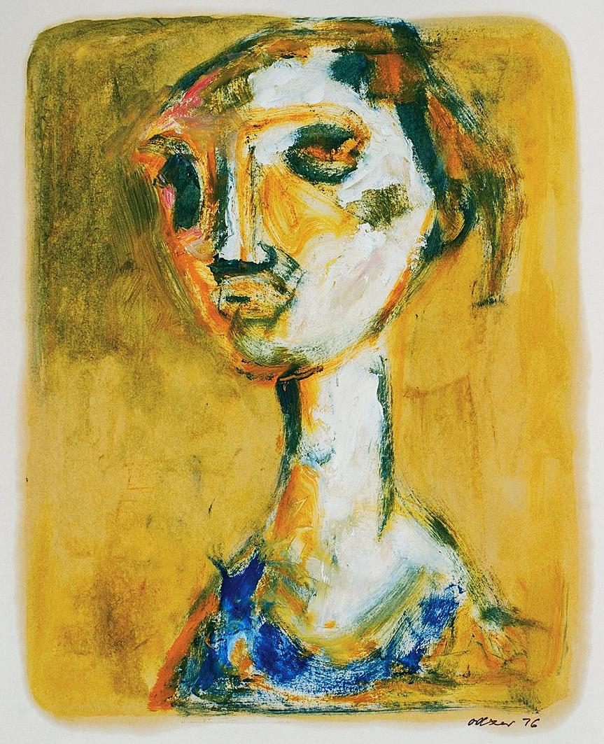 Отто Аксер. Портрет на жовтому тлі, 1976, папір, акварель, гуаш
