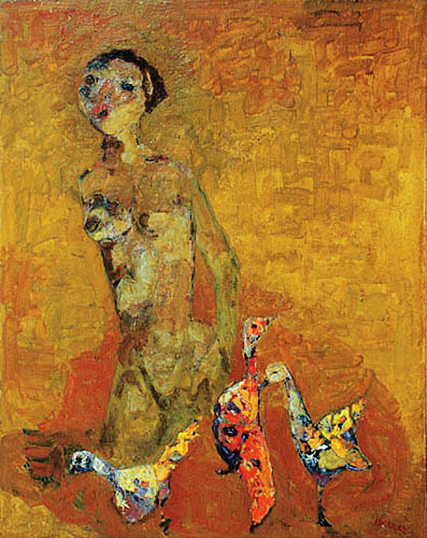 Отто Аксер. Венера та птахи, 1967, олія, полотно