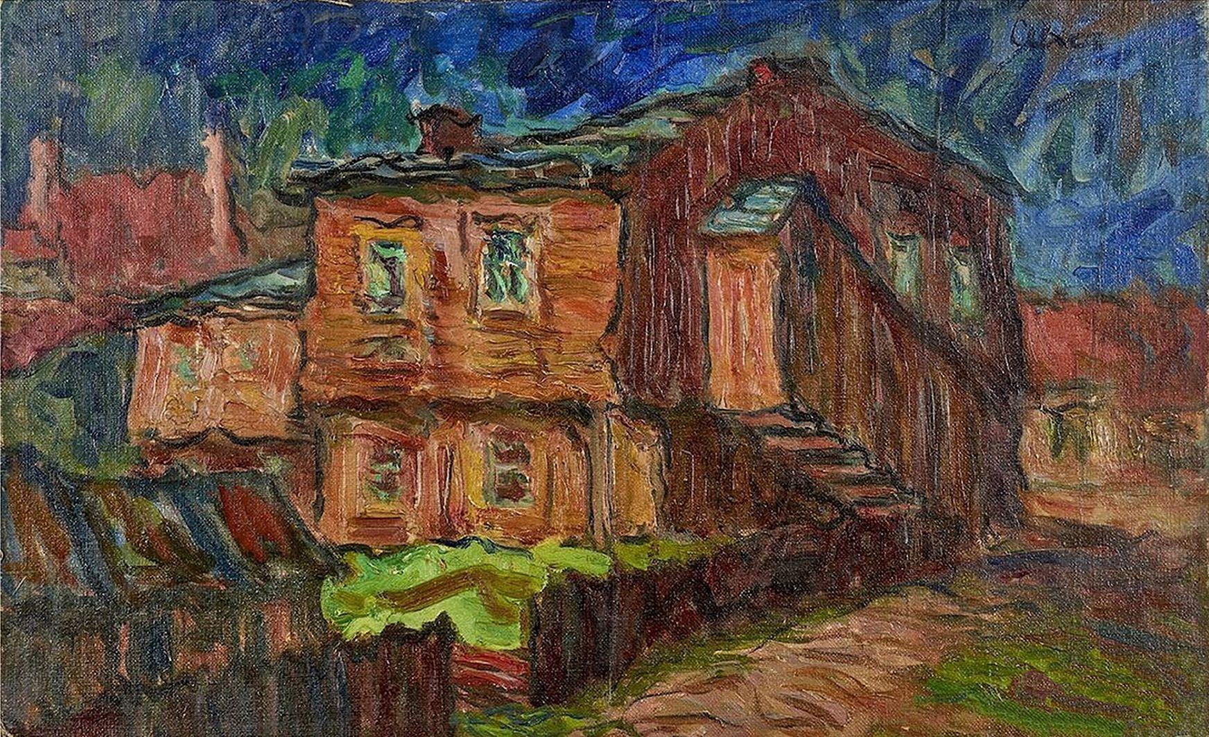 Отто Аксер. Вид Перемишля, 1950, олія, полотно