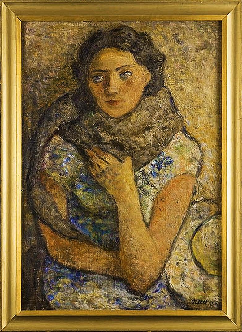 Отто Аксер. Жіночий портрет, 1930-ті, фанера, олія