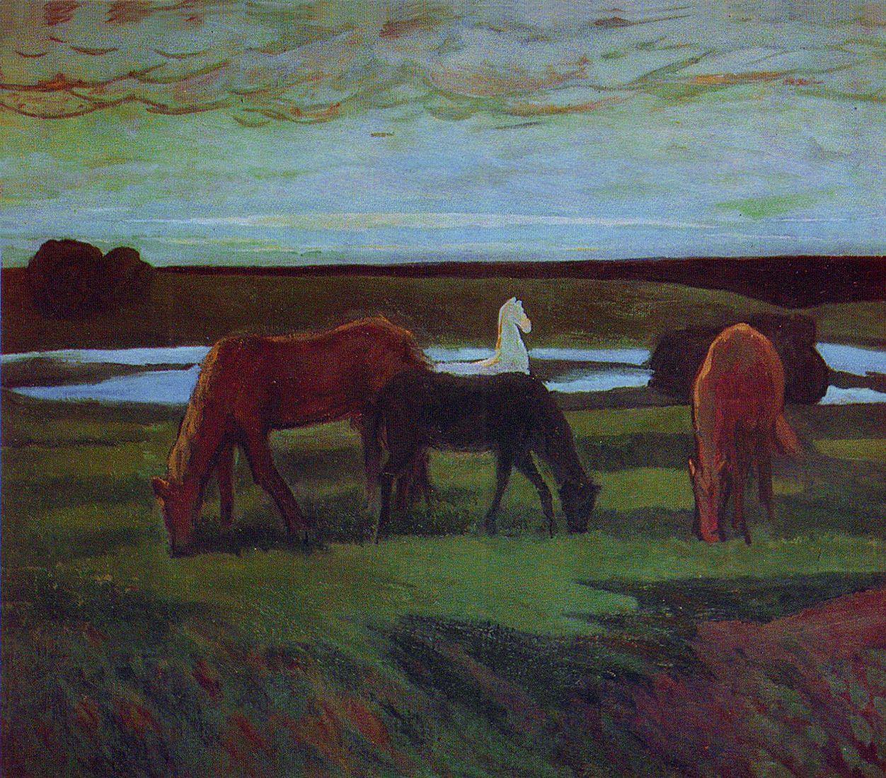 Михайло Ткаченко. Коні на пасовищі, 1973; картон, олія