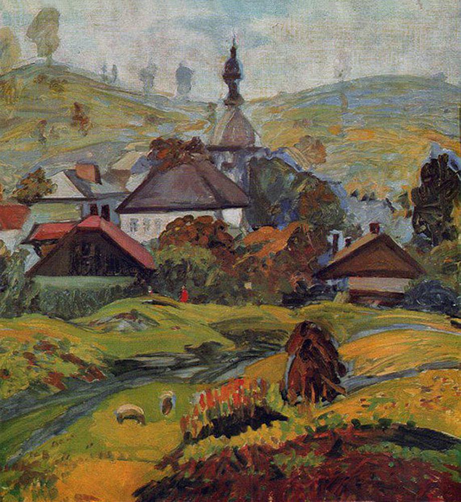 Михайло Ткаченко. Околиці Львова, 1962; картон, олія