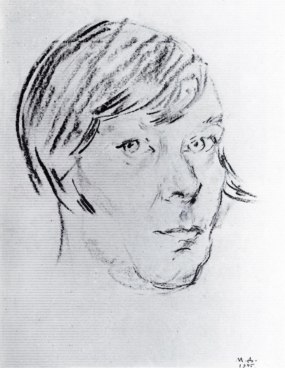 Марія Дольницька. Автопортрет, 1945; папір, вугілля